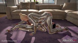 Big tits blonde and ebony futanari lesbians have new uniforms in a game