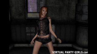 3d stripper flashing her panties at the club