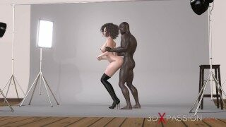 Sexy photo shoot with young elegant girl in photo studio. 3dxpassion